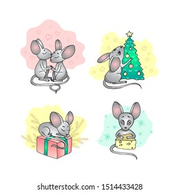 Vector illustration with cartoon mice - symbol of the Chinese new year 2020. Mice with Christmas attributes in the form of stickers. Art can be used for holiday invitation, postcard, poster, packing