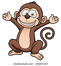 Vector illustration of Cartoon Monkey