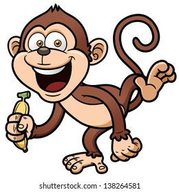 Vector illustration of cartoon monkey with banana