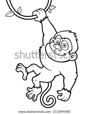 Vector Illustration Cartoon Monkey Coloring Book Stock Vector ...