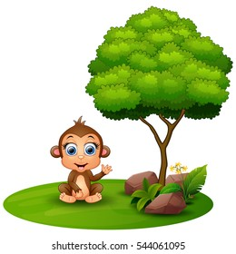 Vector illustration of Cartoon monkey sitting under a tree on a white background