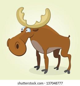 Vector Illustration of Cartoon Moose