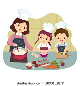 Vector illustration cartoon of mother and children cooking at kitchen counter. Kids doing housework chores at home concept.