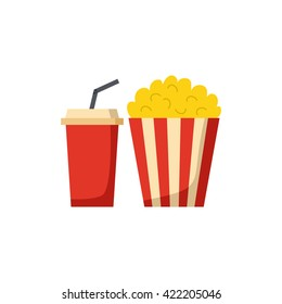 Vector illustration with cartoon movie popcorn and soda. Cartoon popcorn striped bucket with plastic cup of soda. Vector cinema time background. Isolated movie snack objects. Cinema drink and food