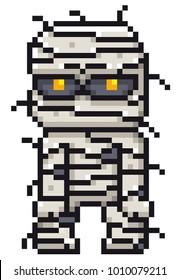 Vector illustration of Cartoon Mummy - Pixel design