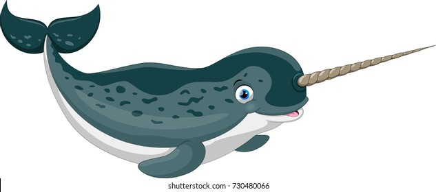 Vector illustration of cartoon narwhal isolated on white background