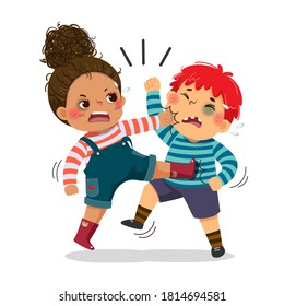 Vector illustration cartoon of a naughty boy and girl fighting. The conflict between children.