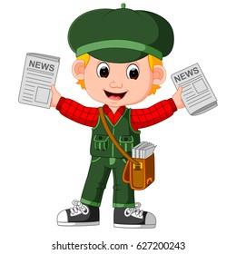 vector illustration of Cartoon Newspaper Boy yelling