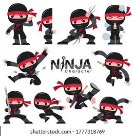 Vector illustration of Cartoon Ninja character set. fighting poses