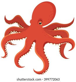 Vector illustration of a cartoon octopus.