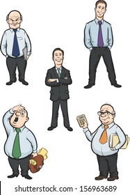 Vector illustration of cartoon office men figures. Easy-edit layered vector EPS10 file scalable to any size without quality loss. High resolution raster JPG file is included.
