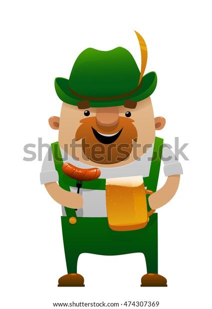 Vector Illustration Cartoon Oktoberfest Man Beer Stock Vector Royalty Free 474307369