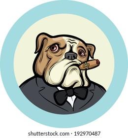 Vector illustration of cartoon Old English Bulldog with Cigar