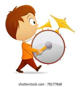 Vector illustration. Cartoon one man band with drum and tube
