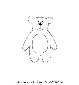 vector illustration of cartoon outline bear - Outline Of A Bear