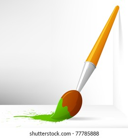 Vector Illustration. Cartoon paint brush with splash on background