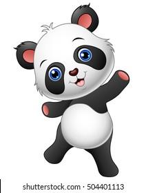 Vector illustration of  Cartoon panda presenting