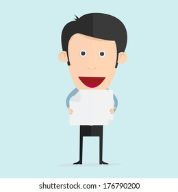 Vector illustration of cartoon with paper note in flat design