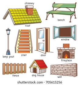 Vector Illustration of Cartoon Parts of house vocabulary
