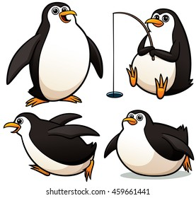 Vector illustration of Cartoon Penguin Character Set