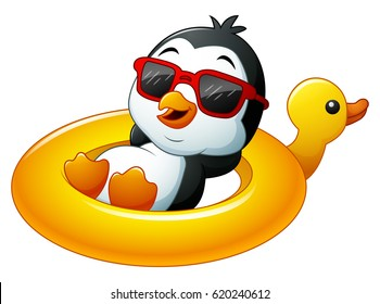 Vector illustration of Cartoon penguin relaxing on the inflatable duck
