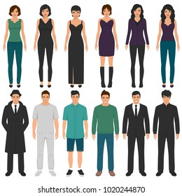 vector illustration of cartoon people group, man, woman flat characters, business office team