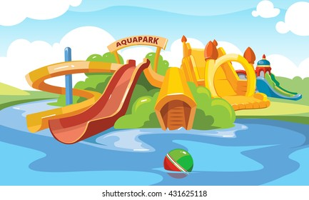 Vector illustration. Cartoon pictures of water slide and inflatable castles on playground.