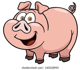 Vector illustration of cartoon pig