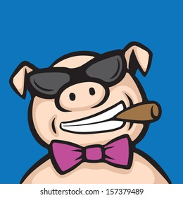 Vector illustration of cartoon pig boss with cigar. Easy-edit layered vector EPS10 file scalable to any size without quality loss. High resolution raster JPG file is included.