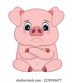Vector illustration, cartoon pig with offended face, emotion, element, design, isolated on white-vector.