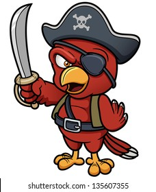 Vector illustration of Cartoon Pirate Parrot