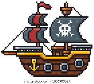 Vector illustration of Cartoon Pirate ship - Pixel design