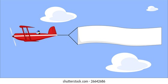 A vector illustration of a cartoon plane pulling a blank banner
