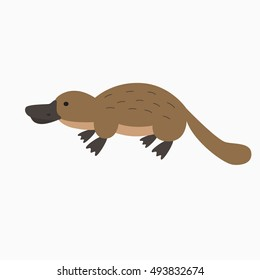 Vector illustration with cartoon platypus icon.