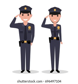 Vector illustration of a cartoon policeman and police woman salutes. Isolated white background. Flat style.