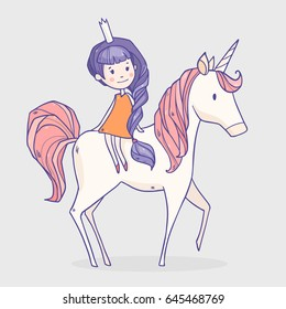 Vector illustration with cartoon princess girl with violet hair riding on her cute white horse unicorn with pink hair