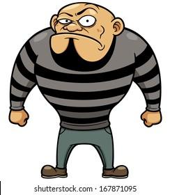 Vector illustration of Cartoon Prisoner