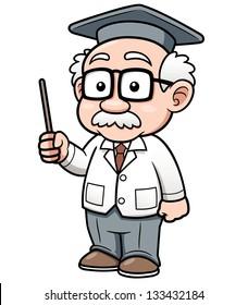 Vector illustration of Cartoon Professor