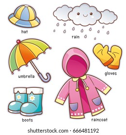 Vector illustration of Cartoon Rain Clothes vocabulary