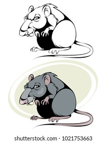 Vector illustration of a cartoon rat on white