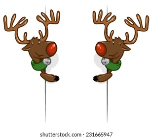 Vector illustration of a cartoon reindeer looking around a corner. isolated on white background