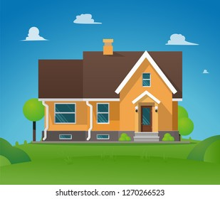 Vector Illustration Cartoon Residential Townhouse. Image Townhouse Background Blue Sky. Concept Life Outside Metropolis. Small Wooden House for Outdoor Living. Growing Trees around House