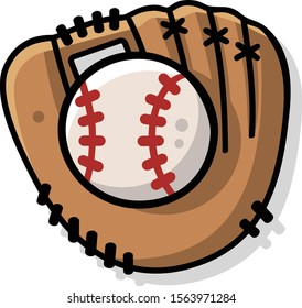 Vector illustration of a cartoon retro baseball or softball mitt with a ball isolated on white. Themes: sports equipment, physical activity, training, competition, America, throwing, outside fun.