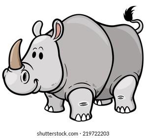 Vector illustration of Cartoon rhino
