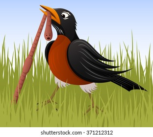Vector illustration of a cartoon robin pulling a juicy worm from the ground.