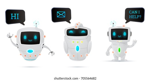 Vector illustration, cartoon robot characters set. Friendly chatbot, mail robot and helper.