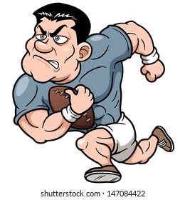 Vector illustration of Cartoon Rugby player