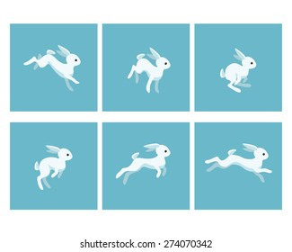 Vector illustration of cartoon running rabbit animation sprite sheet