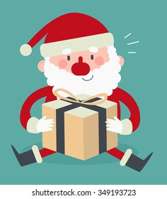 Vector illustration of a cartoon santa sitting and holding a wrapped present.