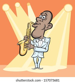 Vector illustration of Cartoon saxophone player. Easy-edit layered vector EPS10 file scalable to any size without quality loss. High resolution raster JPG file is included.